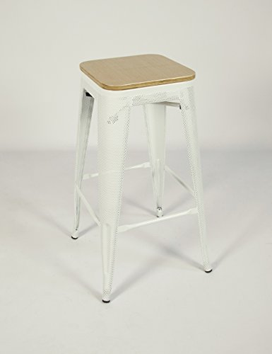 """Stackable Industrial Metal Mesh Bar Stool 30""""– White w/ Bamboo Top (2 (Dynasty Mesh)"""