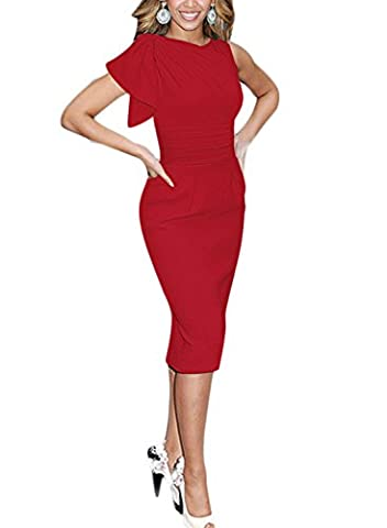 Destinas Women's Sleeveless Celebrity Elegant Ruched Prom Party Bodycon Dress XXL Red - Holiday Stretch Lace Dress