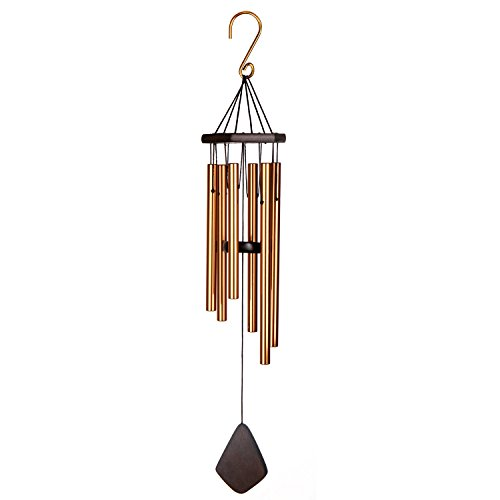IMAGE 24 inch Medium Amazing Grace Chime, Wind Chime with 6 Bronze-Colored Aluminum Metal Hollow Tubes & Hanging Hook, Soothing Melodic Tone Musical Wind Chime for Home, Party, Garden, Décor