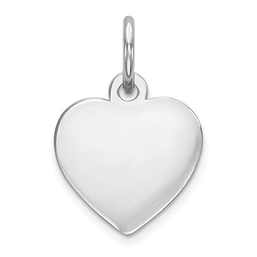 Sterling Silver Engraveable Heart Polished Disc Charm Pendant 15mm