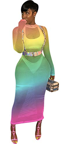 Womens Sexy Long Sleeve O Neck Mesh Embroidered See-Through Party Clubwear Dress (M, Fishnet Green) - Fishnet Long Dress