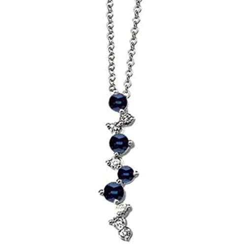 - Bonyak Jewelry 14k White Gold Blue Sapphire & 1/10 CTW Diamond 18