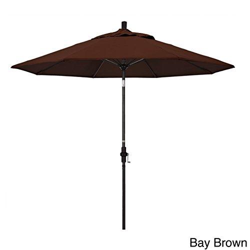 Bay Brown Rib - California Umbrella 9' Sun Master Series Patio Umbrella With Matted Black Aluminum Pole Fiberglass Ribs Collar Tilt Crank Lift With Pacifica Purple Fabric 9'x8 Ribs/Bay Brown
