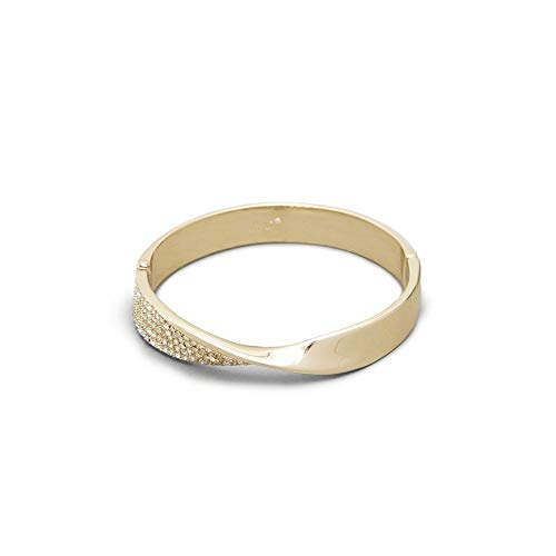 - Kenneth Cole Gold Pave Twist Hinged Bangle Bracelet, Crystal, One Size