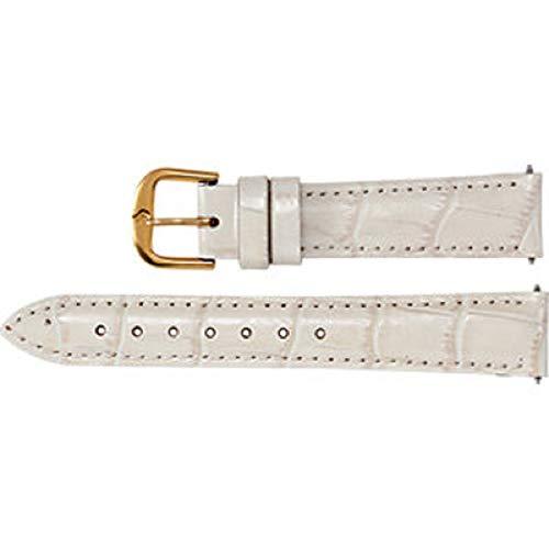 Ladies 18 mm Regular Cream Leather Alligator Grain Padded Watch Strap ()