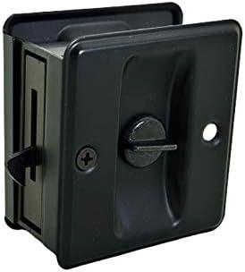 QCAA Solid Brass Sliding Door Pull Privacy Pocket Lock Matte Black 1 Pack