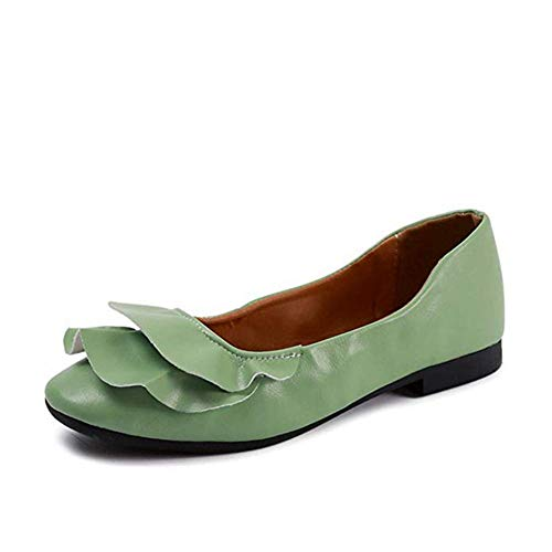 T-JULY Ballet Flats White Lace Wedding Walking Shoes Flat Heel Slip-on Shoes Women Ballerina Bridal Princess Loafers Green from T-JULY