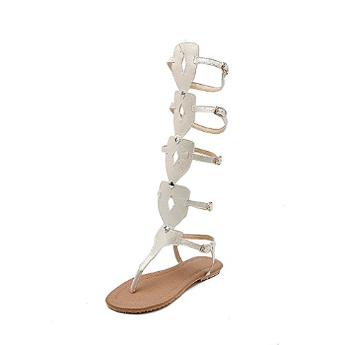 Zapatos Boots Mujer Mujer de Color para Caminar Belt de Zapatos Tall Do 38 Noche Comfort Buckle Hollow y Fiesta Boots Zapatos Tama Bottom o Sandal Bottom para rC7rqwxY