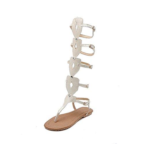 Boots Zapatos de Sandal Mujer Zapatos para Buckle Belt y Tamaño de Bottom Caminar Mujer 35 para Color Hollow Bottom Do Comfort Noche Fiesta Boots Zapatos Tall xn76wqvPXX
