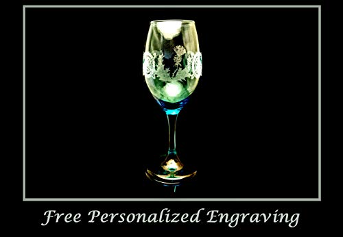 (Teal Celtic Scottish Thistle 12 oz Wine Glass: Free Personalization)