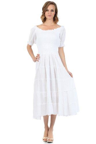 White Peasant Dresses - Sakkas 3702 Cotton Crepe Smocked Peasant Gypsy Boho Renaissance Dress - White/One Size