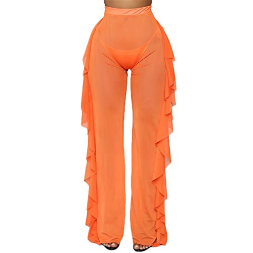 RUEWEY Women See Throug Mesh Flare Cover up Pants Swimsuit Bikini Bottom Cover up Elastic Waist Wide Leg Palazzo Trousers (S, Orange)