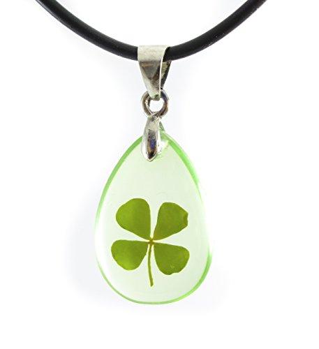 Shamrock Charm Clover Leaf - Genuine Real Four-leaf Lucky Clover Shamrock Crystal Amber Pendant Necklace, Transparent Teardrop of Happiness (Green Leaf)