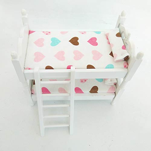 Posee Miniature Children Bedroom Bunk Bed Dollhouse 1:12 Furniture Accessories (Hearts)