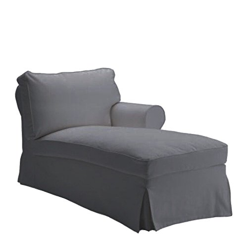 Replace Cover for IKEA Ektorp Chaise Lounge Right Cover, 100% Cotton Sofa Cover for Ektorp Chaise Lounge Right Cover (Gray) (Lounge Custom Chaise)