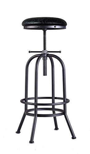 LOKKHAN Industrial Bar Stool-Adjustable Swivel Metal Bar Stool,Cast Iron Stool PU Leather Seat,29-35 Inch Counter Height-Pub Height Extra Tall Bar Stool,Fully Welded