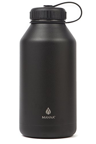 Manna Ranger 64 oz Vacuum Insulated Stainless Steel Wide Mouth Sports Water Bottle With Flex Cap |Sports and Hiking | Keeps Hot for 12 Hours, Cold for 24 Hours | BPA Free | Sweat Free - Onyx by Manna