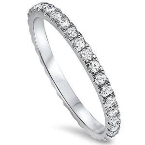 Oxford Diamond Co New Round Cubic Zirconia Eternity Style Band .925 Sterling Silver Ring Size 12