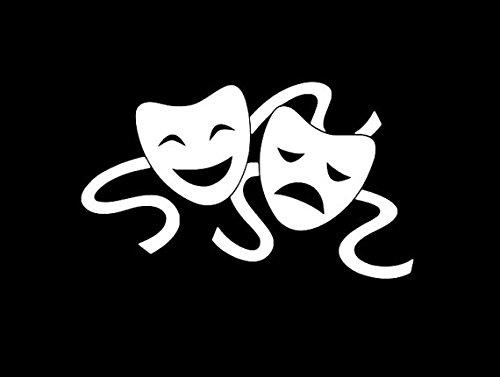 Comedy Tragedy Drama Theater Masks Decal Vinyl Sticker Cars Trucks Vans Walls Laptop WHITE 5.5 in CCI368