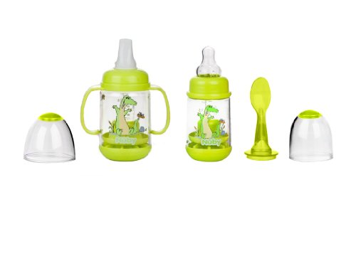 Nuby BPA FREE Infant Feeder Feeding Bottle Set, Colors May Vary