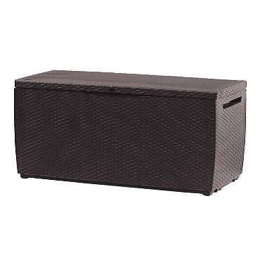 Keter Capri 80-Gallon Rattan Outdoor Storage Deck Box, Espresso Brown (Keter Rattan Storage)