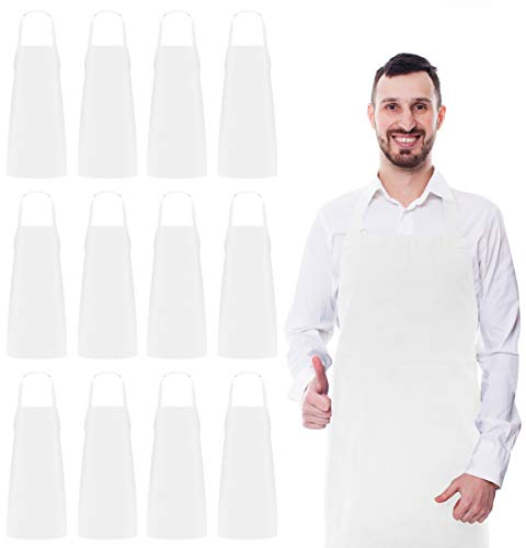 Utopia Kitchen Bib Aprons Bulk, 12 Pack Aprons, White ()
