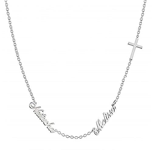 Personalized Double Name Necklace in Sterling Silver with Cross Custom Made with 2 Names