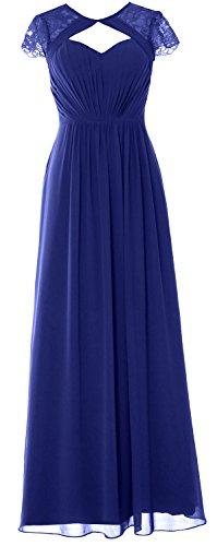 Evening Formal Elegant Bridesmaid Sleeves Gown Cap Blue 2018 Dress Long Royal MACloth 0d8Zwqq