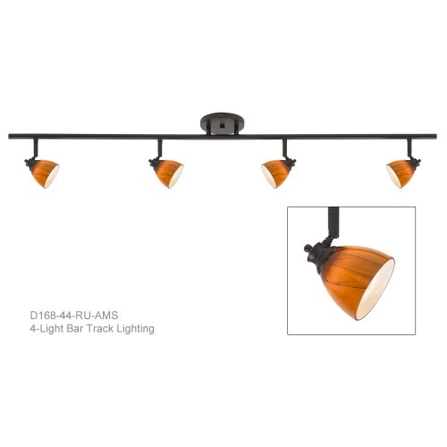 4-Light Fixed Track Lighting Kit in Rust with Amber Cloud Glass Shade D168-44-RU-AMC