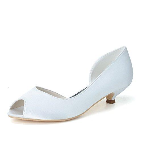 Women's Heels Peep White Pu Satin Shoe Evening Sarahbridal Toe Szxf0700 Prom Kitten Low Wedding Court 02 Shoes Party pdqT51zw