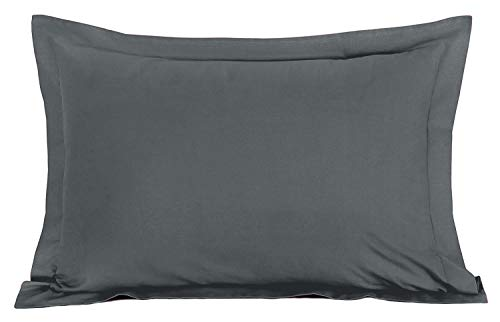 Queen Pillow Shams Set of 2-600 Thread Count Luxurious and Soft 100% Egyptian Cotton Pillow Shams Dark Grey Queen Size 20X30 Tailored Decorative Bed Pillow Cover Set (Queen 20X30, Dark Grey)