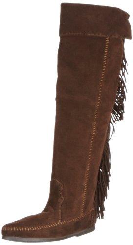 Stiefel Damen Minnetonka Fringe Braun The Chocolate 1698 Mokassin Knee Over wPTXqFP0