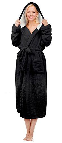 Tirrinia Women's Long Plush Robe with Hood Sherpa Lined Bathrobe Black