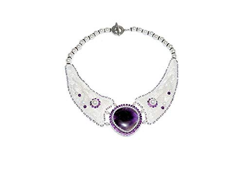 Amethyst Bib - Bead Embroidered Bib Necklace with Amethyst Cabochon, Rhinestones, Simulated Pearls, Seed & Bugle Beads. Bead Embroidery Statement Bridal Necklace Collar. Free shipping USA & Canada.