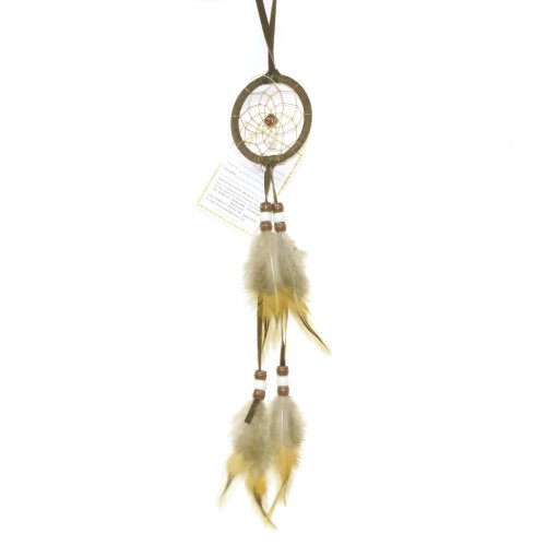 Miniature Earthtone Brown Dreamcatcher, Beads & Feathers, 8-inch ()