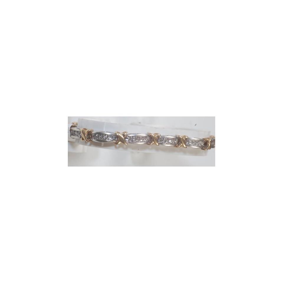 2ct Diamond & Two Tone Gold Ladys Bracelet, Brand New