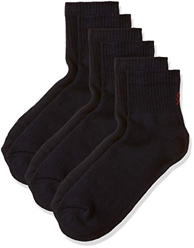 United Colors of Benetton Men's Cotton Calf Socks (Pack of 3) (PS01I-905_Navy_St)