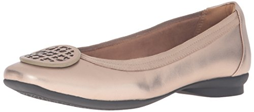 CLARKS Women's Candra Blush Flat, Gold/Metallic, 8.5 M US by CLARKS
