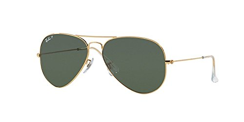 Ray-Ban RB 3025-001/58 Arista Large Metal Aviator Sunglasses with Natural Green Polarized Lenses - 3025 Ray Green Ban Polarized