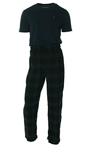 Nautica Men's Pajama Set with Tee Shirt and Tartan Plaid ...
