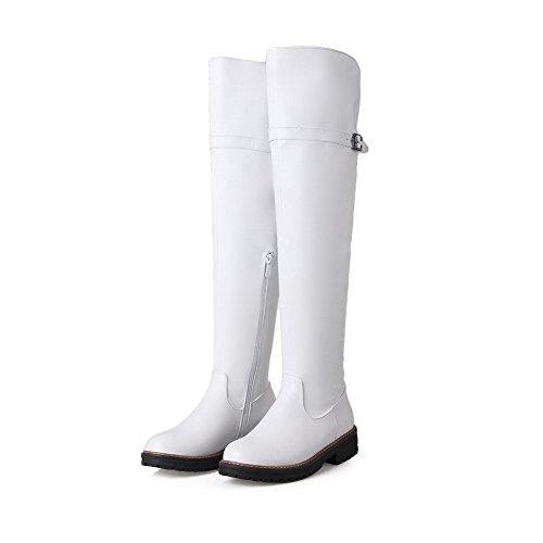 AllhqFashion Damen Rund Zehe Niedriger Absatz Weiches Material Hoch-Spitze Rein Stiefel Weiß