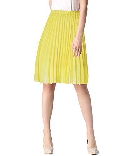 uideazone Summer Bohemian Linen Jupe Femmes Haute Taille Pliss Midi Boho Jupes Jaune