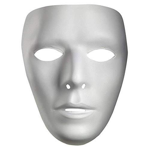 IDOXE Halloween Hip Hop Dance Mask Thick Blank Male Scary The Phantom Mask Costume White Face Mask Paintable (White)