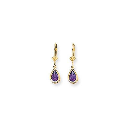 Perfect Jewelry Gift 14k 8x5mm Amethyst Dangle Earrings