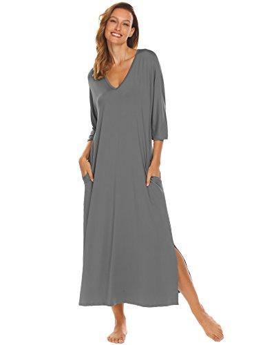 (Ekouaer Sleepshirt Dress Long,Women's Loose Fit Sleep Gown with Pockets,7943-grey,Medium)