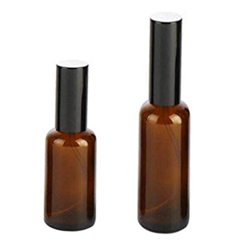 2PCS Brown Glass Pump Bottles Dispenser Container Press Jar