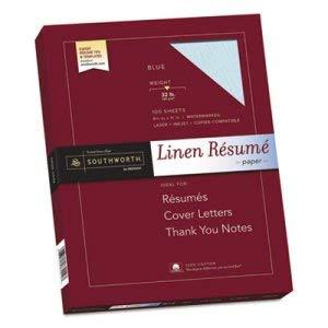 Southworth Co 100% Cotton Linen Resume Paper, Blue, 32 lbs, 8-1/2 x 11, 100/Box (7 Boxes)