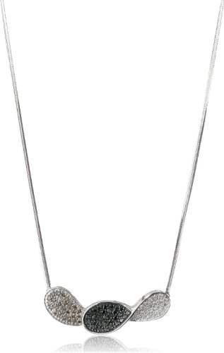 Sterling Silver Black, Brown and White Diamond Necklace (1 1/2 cttw)