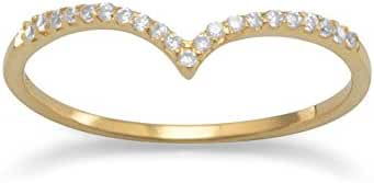 18k Yellow Gold Plated Sterling Silver Cubic Zirconia Thin 'V' Shaped Ring