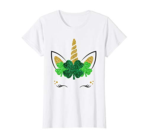 Unicorn Face St Patrick's Day Girls T-Shirt